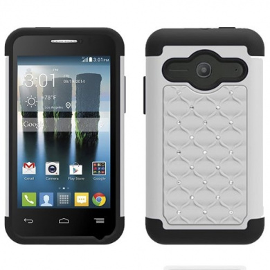 White Black HyBrid Rhinestone Silver Bling Soft Skin Hard Case Cover For Alcatel One touch Evolve 2