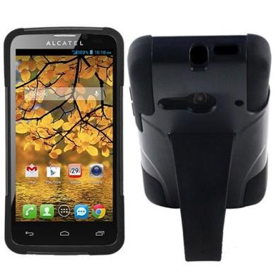 Black HyBrid Rubber Soft Skin Kickstand Case Hard Cover For Alcatel One touch Evolve 2