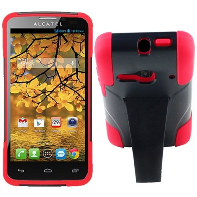 Red Black HyBrid Rubber Soft Skin Kickstand Case Hard Cover For Alcatel One touch Evolve 2