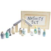 East of India - Set Décoration de Noël en Bois - Crèche de la Nativité