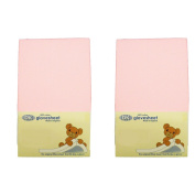 DK Glovesheets Two Fitted 83 x 50cm Crib Sheets 100% Combed Jersey Cotton - To Fit Chicco Next 2 Me Crib - BABY PINK - TWO PACKS