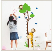 XL! Monkey Tree Growth Chart, tape measure, yardstick Wall Decal wall stickers wall stickers children's gift bow Gr. 60 * 90cm