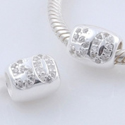 Fifty- 50th Birthday- Anniversary- 925 Solid Sterling Silver European Charm Bead - Pandora style