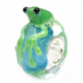 Queenberry Sterling Silver Cute Green Leaping Frog Blue Shinning Water Glass Bead For Pandora Troll Chamilia Biagi European Charm Bracelets