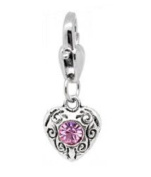 June Heart Birthstone - Clip on Charm - Fits Thomas sabo style bracelet