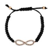 Ornami Rose Gold Plated Crystal Plaited Black Leather Adjustable Bracelet Infinity of Love of 19cm