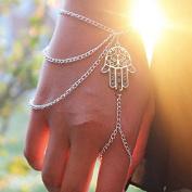 Culater® Fashion New Silver Hamsa Fatima Bracelet Finger Ring Bangle Slave Chain