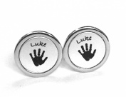 Silver Tone Hand Print or Foot Print Cufflinks - Available in Square or Round