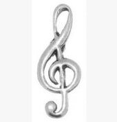 Gift Boxed Pewter Music Musician Treble Clef Tie - Lapel Pin / Brooch / Badge