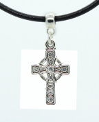 Celtic cross charm on Premium quality leather choker / necklace (chocker)+ Made in UK +