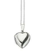 Elements Sterling Silver Ladies Marcasite Detail Heart Locket of Length 41-46cm