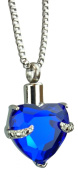 Royal Blue Heart Urn Pendant - Memorial Ash Keepsake - Cremation Jewellery