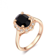 2015 Fashion Pretty Wedding Finger Ring Jewellery Woman's Classic Rose Gold With Black Diamond Ring UK Size S