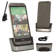 TECHGEAR® HTC One M9 Desktop Charging Stand Cradle & Data Transfer Sync Dock in SILVER, With OTG Function Built in + USB Data Transfer/Charge Cable [HTC One M9, 2015 Edition]