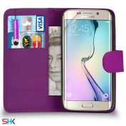 Samsung Galaxy S6 Edge Premium Leather Dark Purple Wallet Flip Case Cover Pouch + Mini Touch Stylus Pen + Screen Protector & Polishing Cloth SVL1 BY SHUKAN®,