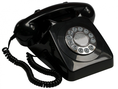 GPO 746 Push Button Retro Telephone with Authentic Bell Ring - Black