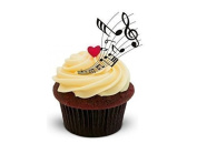 The Baking Girls - Musical Notes Swirl Sheet Music - Standups 12 Edible Standup Premium Wafer Cake Toppers - 2 x A5 sheet - 12 images