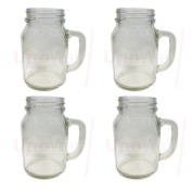 Set of 4 Mason Glass Drinking Jars with Handles no Lids 20oz 1 pint 568ml