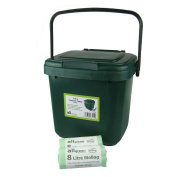 Green Kitchen Compost Caddy & 50x 8L Biobags - for Food Waste Recycling (7 Litre) - 7L Plastic Composting Bin