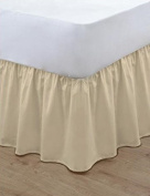 •ROHILinen• Luxury 68 Pick Biscuit Double FRILLED Base Valance sheet