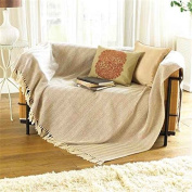 Collie ZigZag Natural Cream Brown Beige Bed Chair Sofa Settee Cotton Throw Blanket With Tassels Extra Large 170cm x 200cm