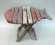 Unusual Folding Rustic Table Hand Made in Pastel colours Shabby chic Fish Table
