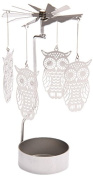 NEW METAL OWL TEA LIGHT POWERED SPINNING CANDLE HOLDER DECORATION SPIN07