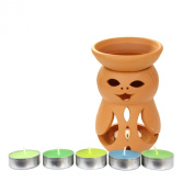 Home Decoration Terracotta Tea Light Holder With Puppet Face Cut Out and Oil Burner & Diffuser and 6 Assorted Tealight Candles Included From the Romantic Collection