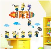 Gallery Canvas Art-DIY Home Decor Art Removable Wall Stickers Nursery Kids Room Cartoon Minions Wall Decals #WM145