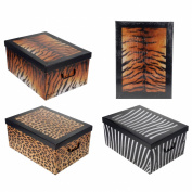 Decorative Tiger Animal Print Design Folding Room Tidy Bedroom Toy Storage Box