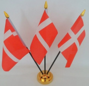 Denmark Danish 3 Flag Desktop Table Display With Gold Base