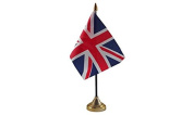 Pack Of 3 UK United Kingdom Union Jack Great Britain Desktop Table Centrepiece Flag Flags With Gold Bases Ideal For Party Conferences Office Display