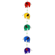 Colourful Elephant Stained Glass Sun Catcher Mobile - Beautiful Window Hanging - Home Decoration
