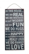 Retro In This House We Do Real Navy & White Metal Wall Sign Love Family Rules