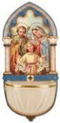 Holy Family Luminous Holy water Font with Gold Foil Highlights.