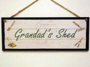 "Wooden Sign / Plaque.""Grandad's Shed"" Gardening. Great Gift Idea!"