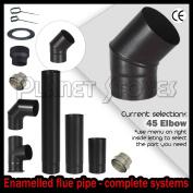 15cm X 45 Degree Bend Black Vitreous Enamelled Flue Pipe For Wood Burning Stove
