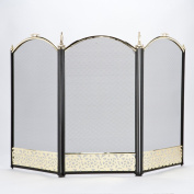Inglenook, 3 Panel Black/Brass Screen With Filigree