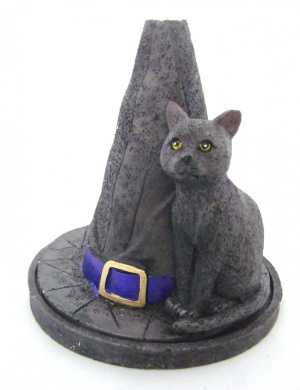 NEW Attractive Lisa Parker Designed Magical Witch's Hat with Black Cat Incense Cone Burner