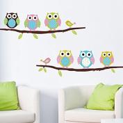"CasaNet- Sticker Murals Colourful, Paper Walls / Glass ""6 Owls Birds Branches"" Sticker DO IT YOURSELF"