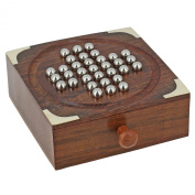 Handmade Indian Wooden Solitaire Board Game with Stainless Steel Balls - Travel Games for Adults