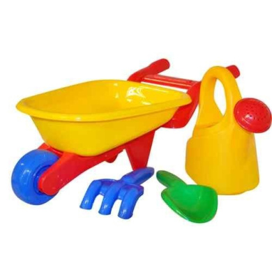 4PC KIDS GARDEN WHEELBARROW PLAY SET WATERING CAN CHILDRENS TOOLS