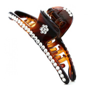 Brown Hair Claw Jaw Pin Butterfly Clip Clear Rhinestones Hair Styling Accessories for Women Teens
