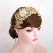 Luxury Gold Rhinestone Lace Headpiece Wedding Bridal Ribbon Headband