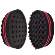 New Oval Double Side Two in One Magic Twist Hair Sponge Afro Braid Style Dreadlock Coils Wave Hair Curl Sponge Brush