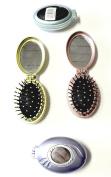Compact Folding Hair Brush with 2 Mirrors Massage Detangling Air Rubber Cushion