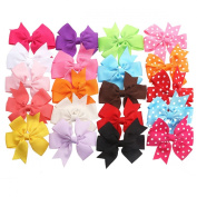 TinkSky 20pcs Hair Bows-15 Pure Colour+5 Polka Dot- Alligator Clip Grosgrain Ribbon Headbands for Baby,Girls and Young Women