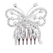 Doinshop New Cute Nice Funny Women Elegant Butterfly Crystal Rhinestone Hair Comb Clip