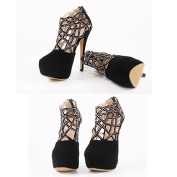 Fashion Diamond Single Shoes Openwork Platform Rome High Heel Sandals New US4
