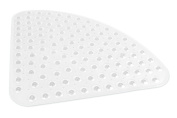 DII 50cm by 50cm Non Slip Transparent Safety Grip Suction Cups Rounded Triangle Vinyl Bath Tub Mat, Small, Clear